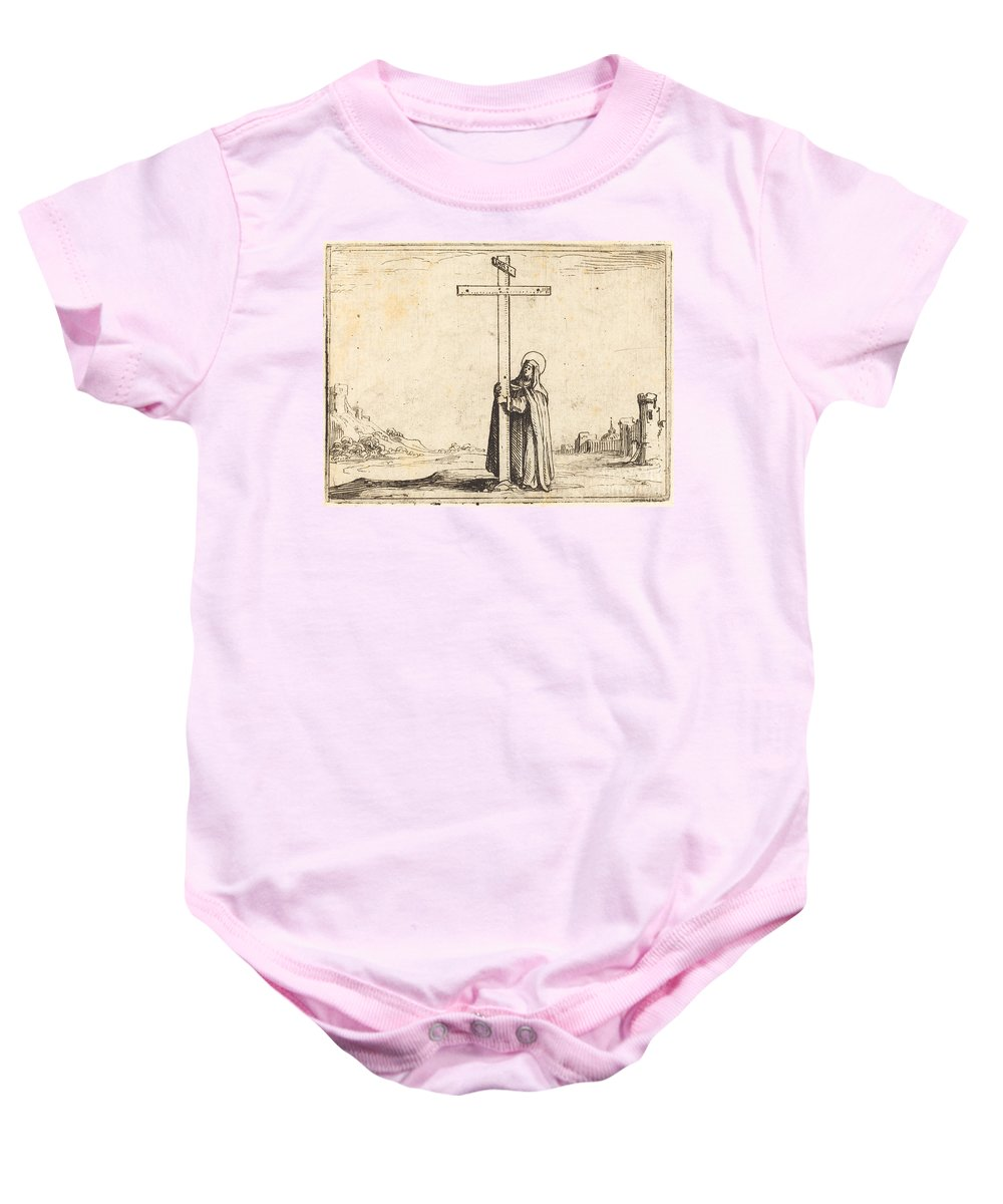 Baby Onesie featuring the drawing Nun Embracing The Holy Cross by Jacques Callot