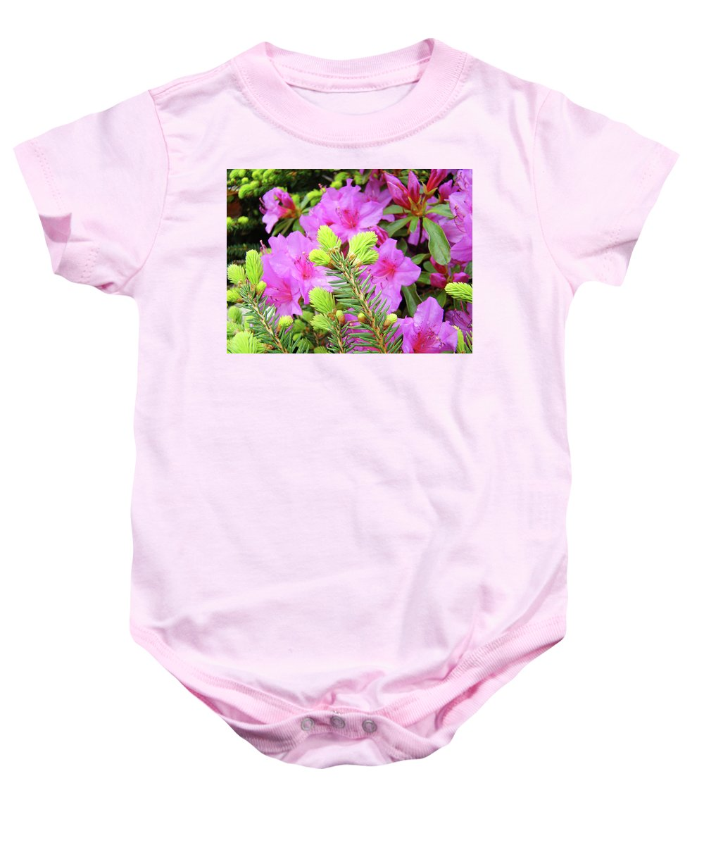 Office Baby Onesie featuring the photograph Office Art Pine Conifer Pink Azalea Flowers 38 Azaleas Giclee Art Prints Baslee Troutman by Baslee Troutman
