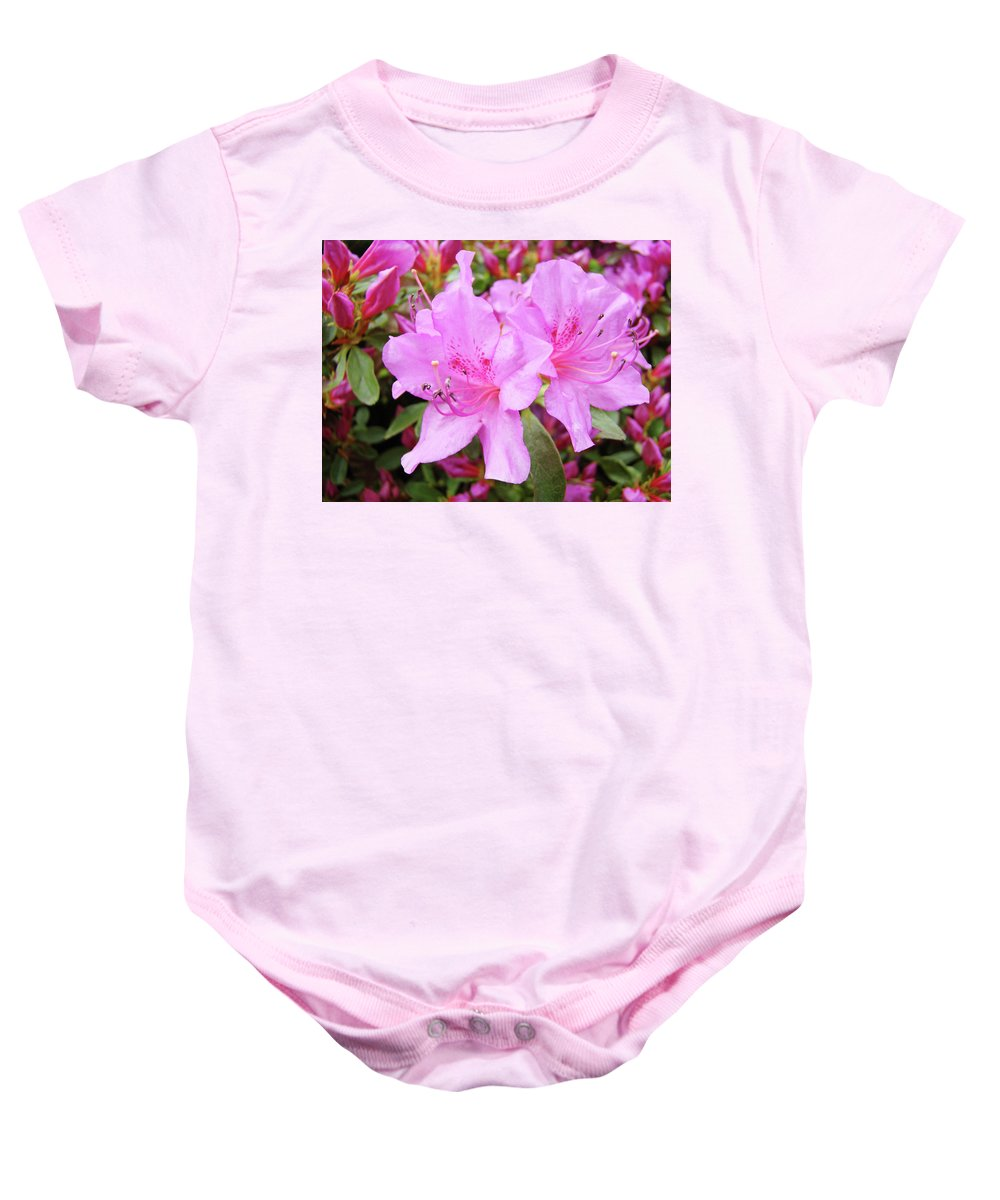 Flower Baby Onesie featuring the photograph Office Art Pink Azalea Flower Garden 3 Giclee Art Prints Baslee Troutman by Baslee Troutman