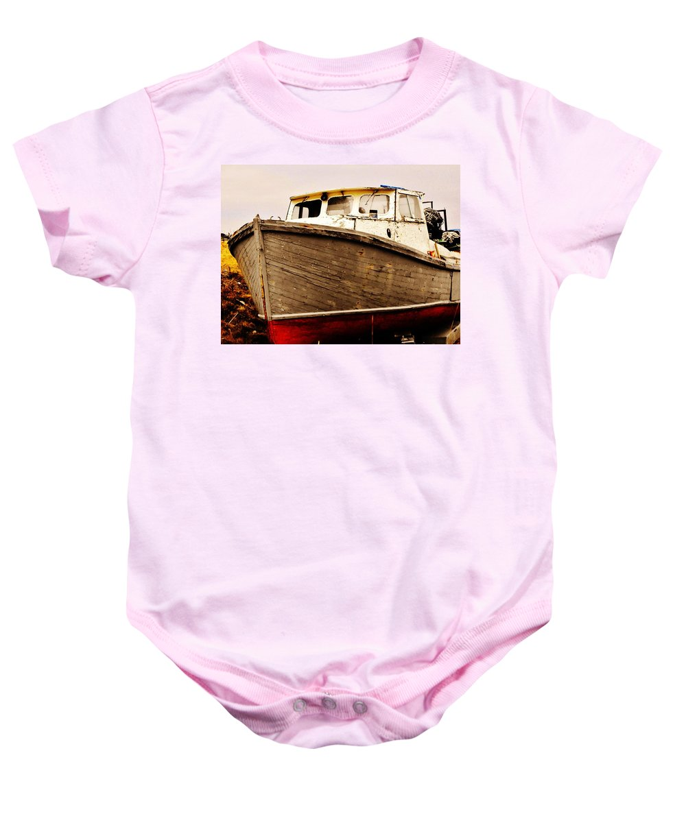 Boat Grave Yard Baby Onesie featuring the photograph Old Boat by Lori Mahaffey