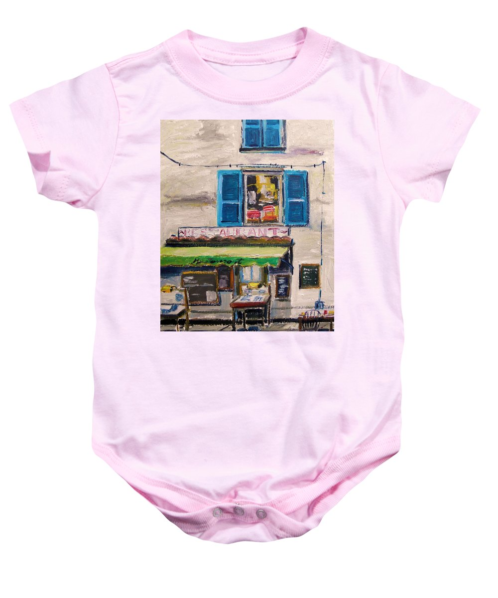 Oil Baby Onesie featuring the painting Old Town Cafe by John Williams