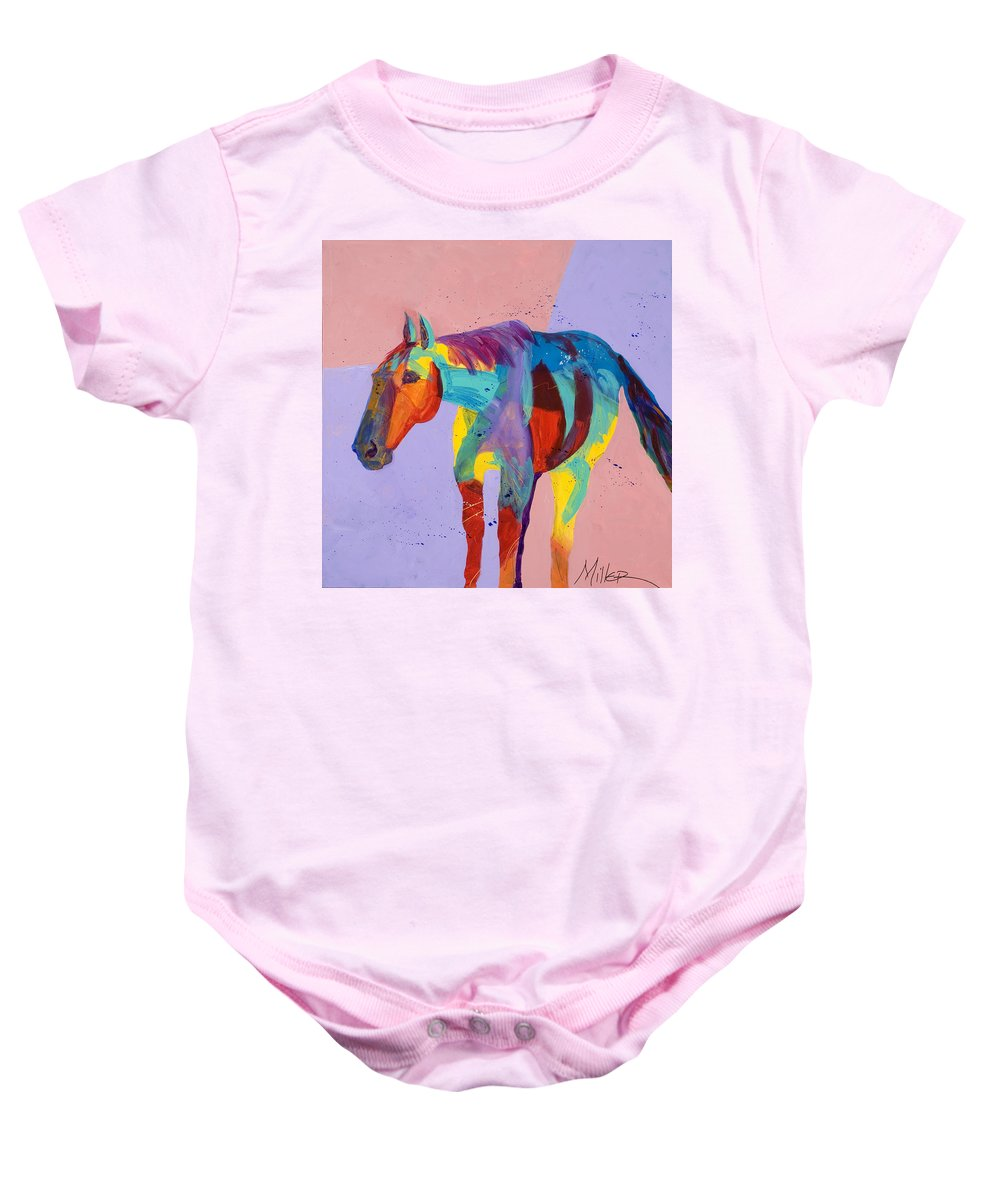 Horse Baby Onesie featuring the painting On The Lonely Trail by Tracy Miller