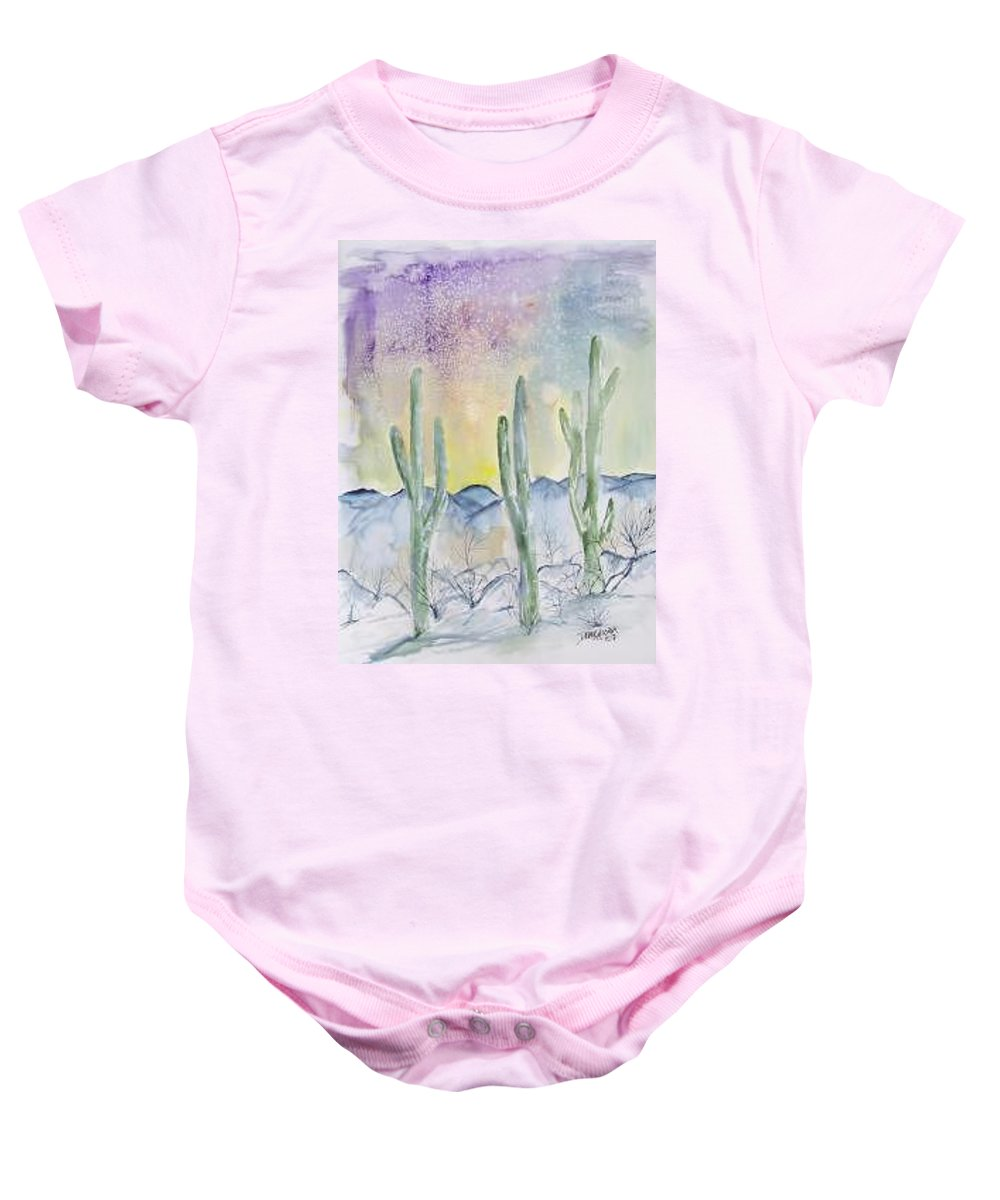 Impressionistic Baby Onesie featuring the painting Organ Pipe Cactus desert southwestern painting poster print by Derek Mccrea