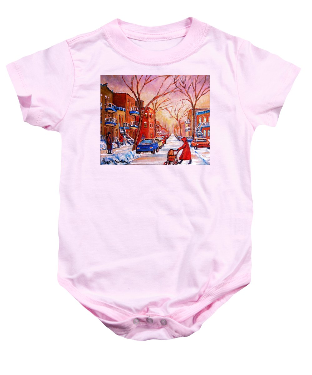 Montreal Baby Onesie featuring the painting Out For A Walk With Mom by Carole Spandau