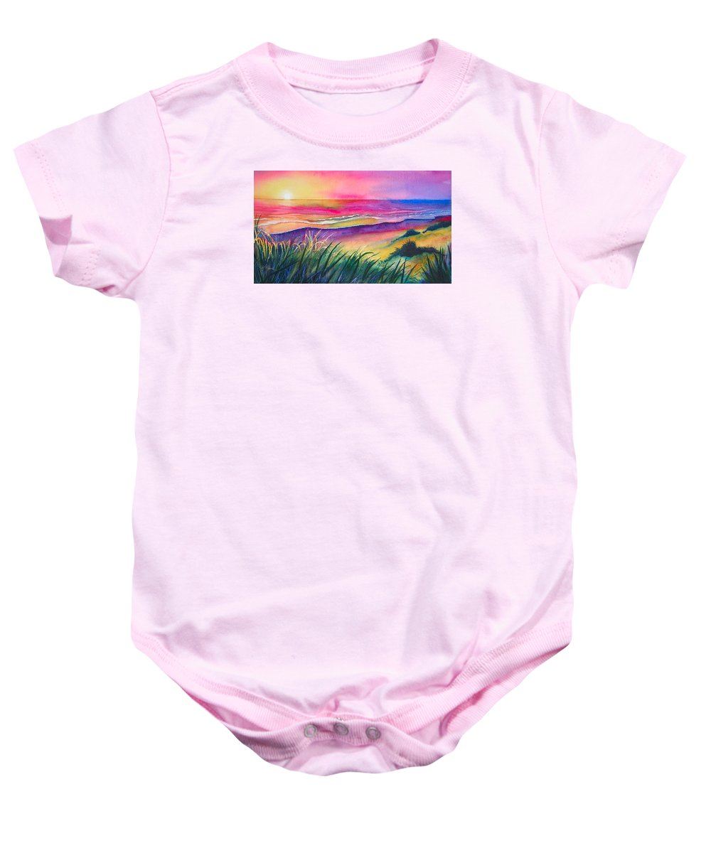 Pacific Baby Onesie featuring the painting Pacific Evening by Karen Stark