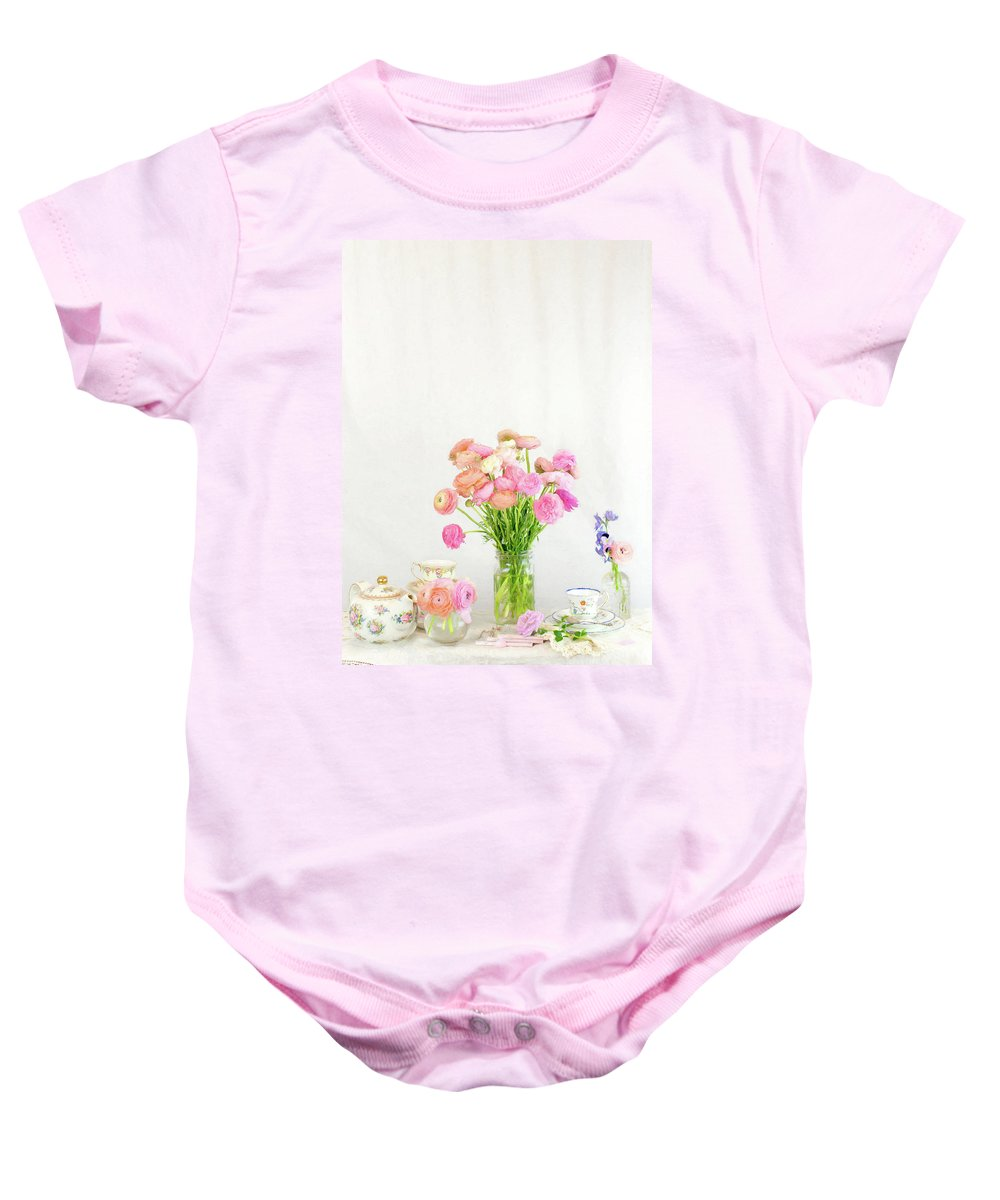 Ranunculus Baby Onesie featuring the photograph Painterly Ranunculus Tea Time by Susan Gary