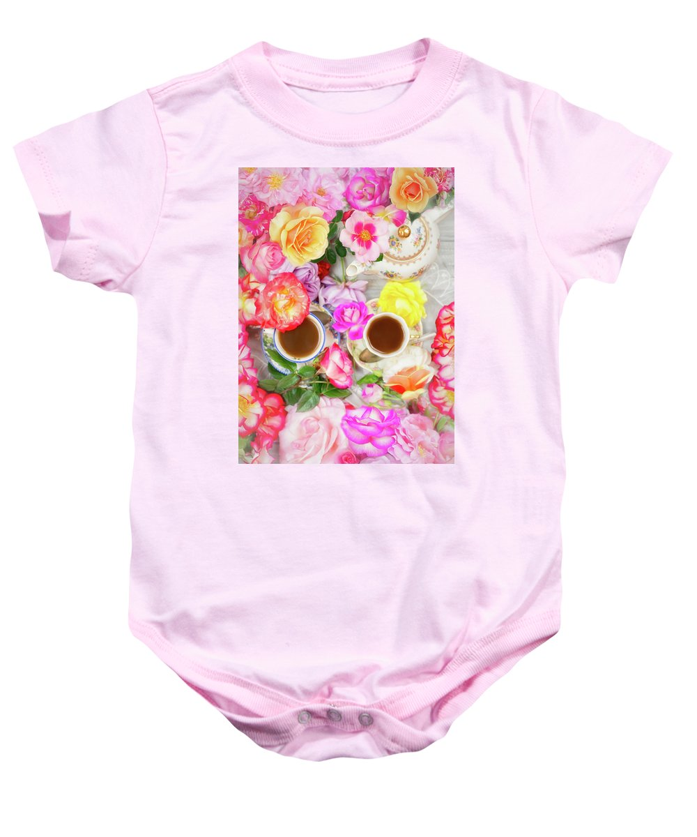 Painterly Baby Onesie featuring the photograph Painterly Tea Party With Fresh Garden Roses II by Susan Gary
