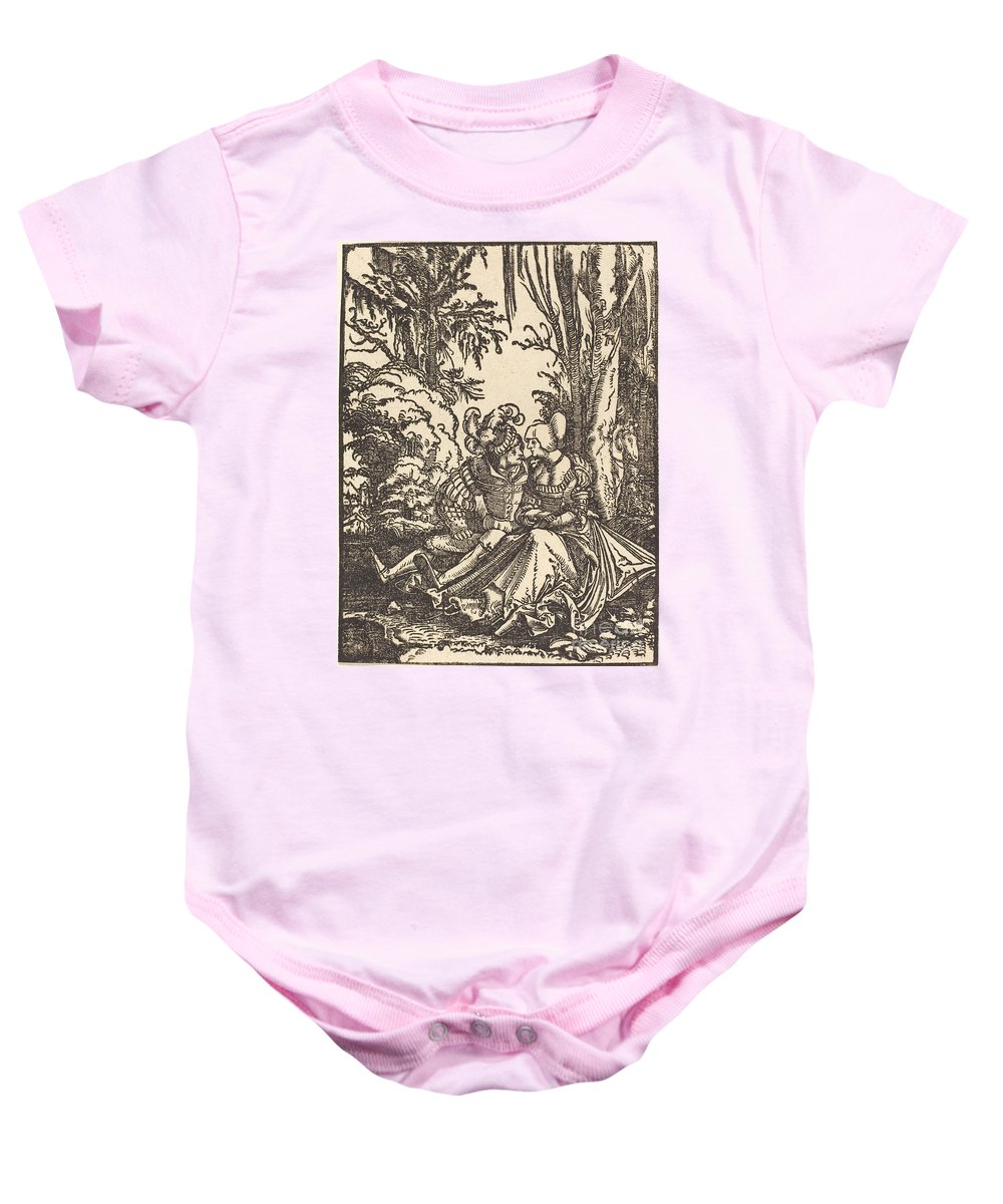 Baby Onesie featuring the drawing Pair Of Lovers In A Landscape by Albrecht Altdorfer