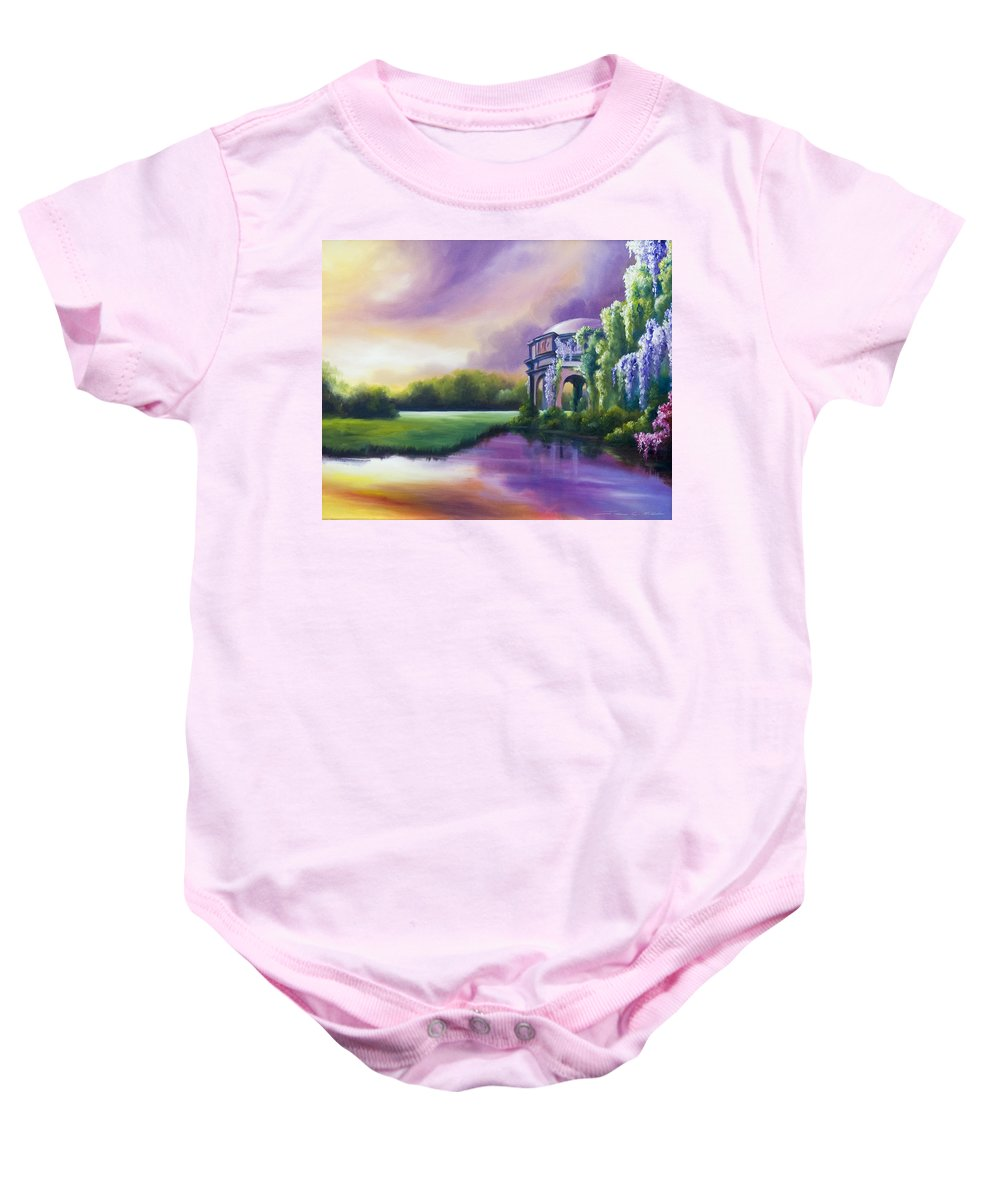 Marsh Baby Onesie featuring the painting Palace Of The Arts by James Christopher Hill