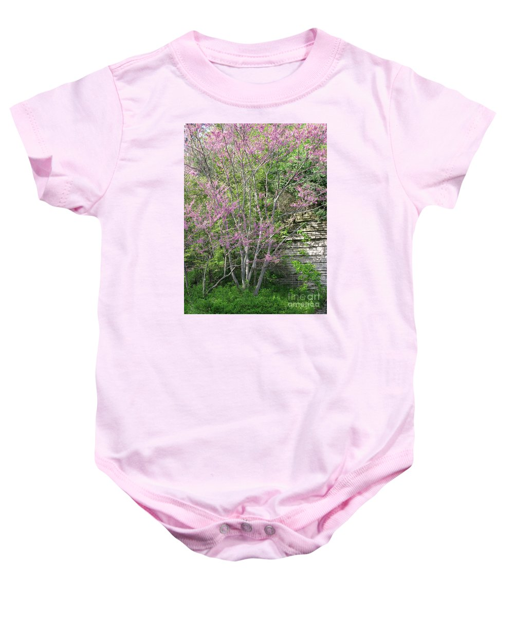 Spring Baby Onesie featuring the photograph Pale Pink Spring by Ann Horn