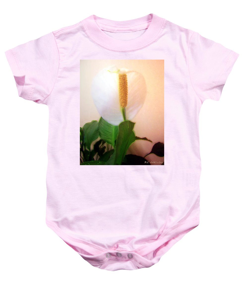 Flower Baby Onesie featuring the painting Peace Lily Luminous by RC DeWinter