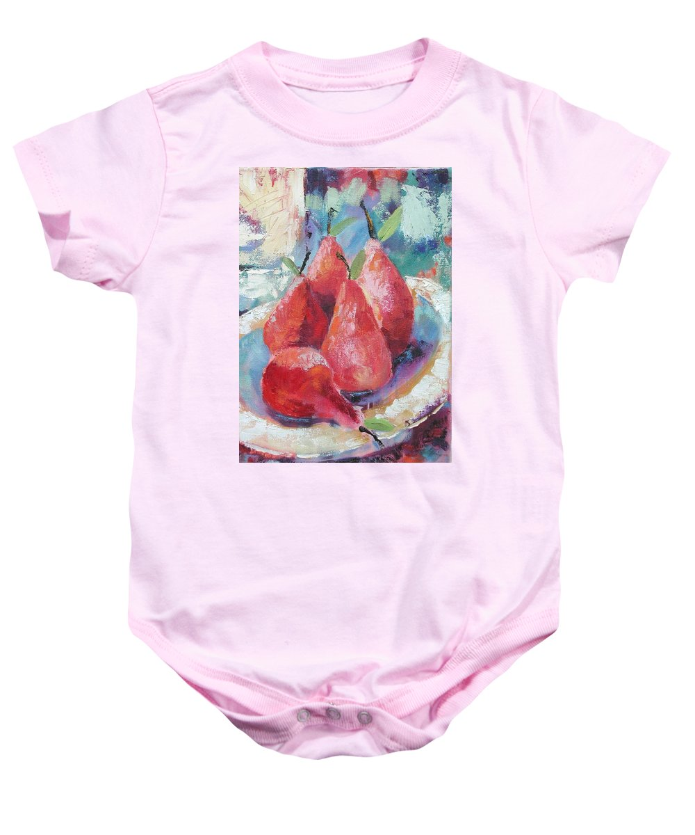 Pears Baby Onesie featuring the painting Pears by Ginger Concepcion