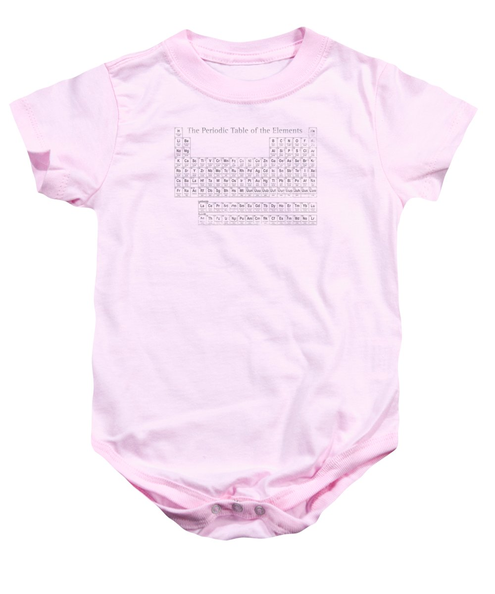 Periodic Baby Onesie featuring the mixed media Periodic Table of the Elements by Design Turnpike