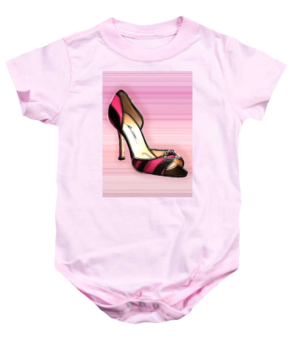 Shoes Heels Pumps Fashion Designer Feet Foot Shoe Baby Onesie featuring the painting Pink And Black Stripe Shoe by Elaine Plesser