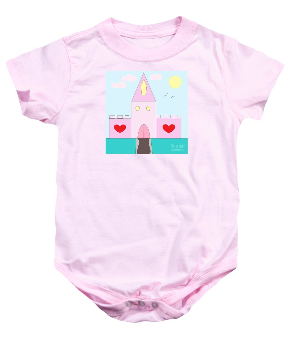 Digital Art Baby Onesie featuring the photograph Pink Castle by Mesa Teresita