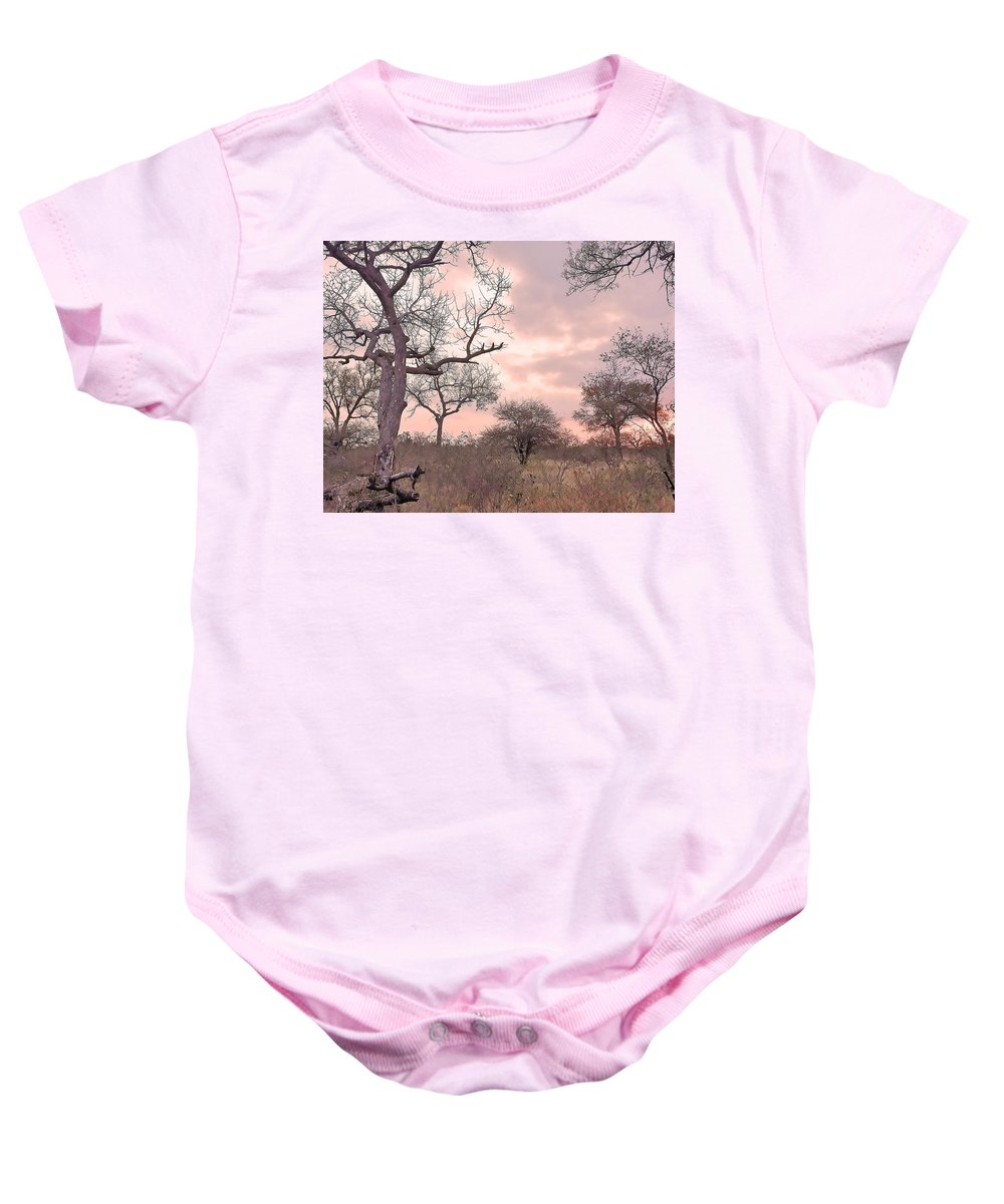 Leopard Baby Onesie featuring the photograph Pink Clouds by Lisa Byrne