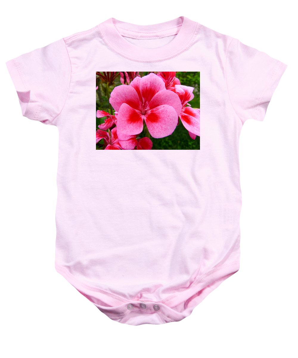 Plant Baby Onesie featuring the photograph Pink Geranium Blossom by Valerie Ornstein