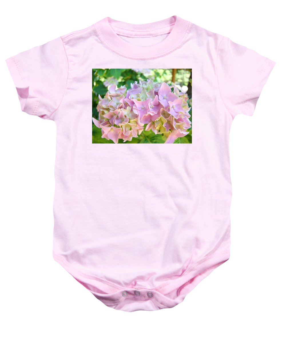 Nature Baby Onesie featuring the photograph Pink Hydrangea Flower Garden Art Prints Baslee Troutman by Baslee Troutman