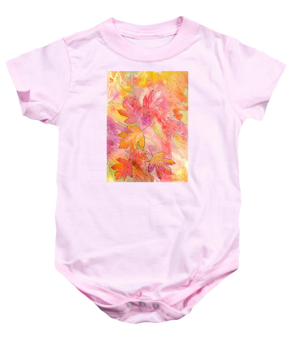 Tree Leaves Baby Onesie featuring the painting Pink Leaves by Nancy Cupp