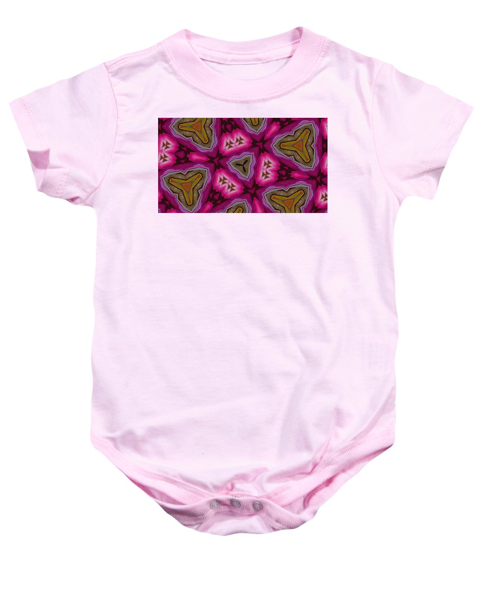 Pink Baby Onesie featuring the digital art Pink And Gold Eruption by Elaine Ferrell