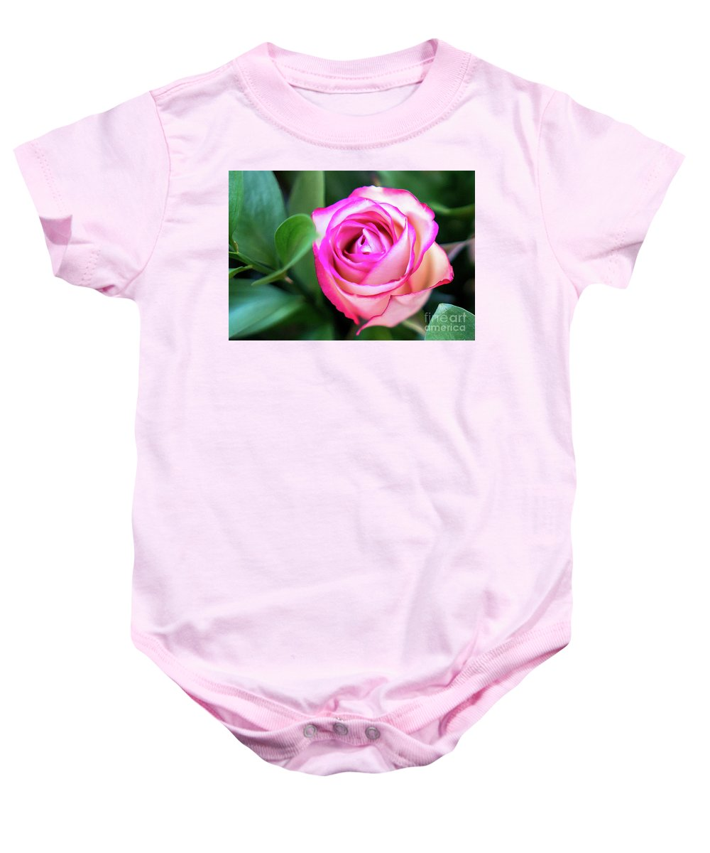Flora Baby Onesie featuring the photograph Pink Rose With Leaves by Annerose Walz
