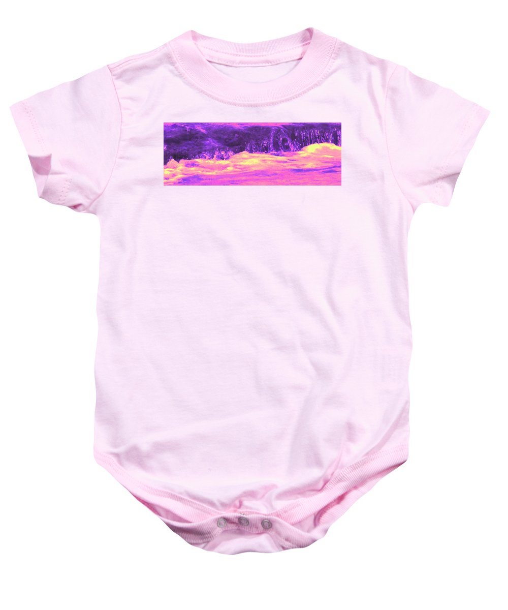 Seascape Baby Onesie featuring the photograph Pink Tidal Pool by Ian MacDonald