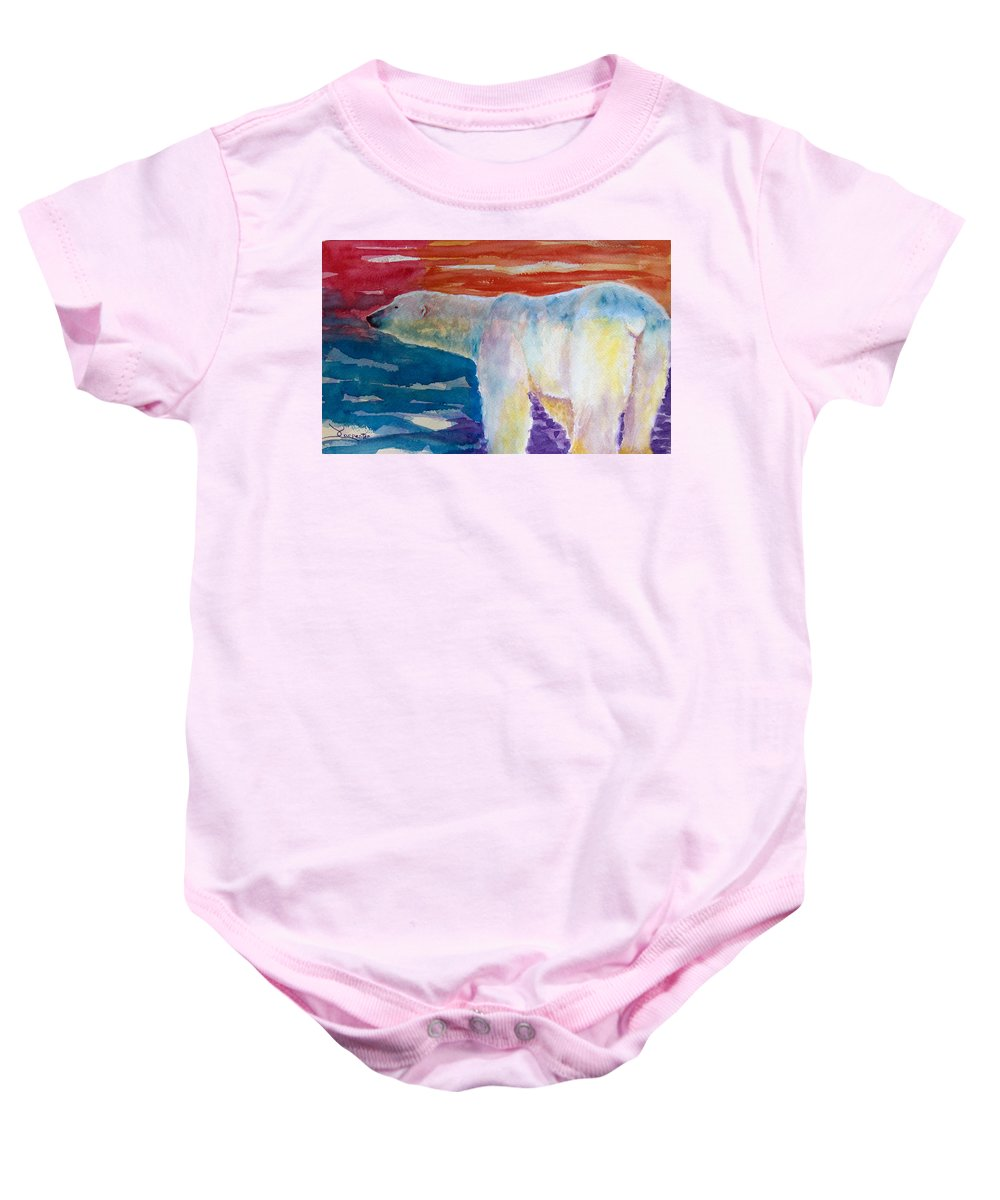 Polar Bear Baby Onesie featuring the painting Polar Bear by Dee Carpenter