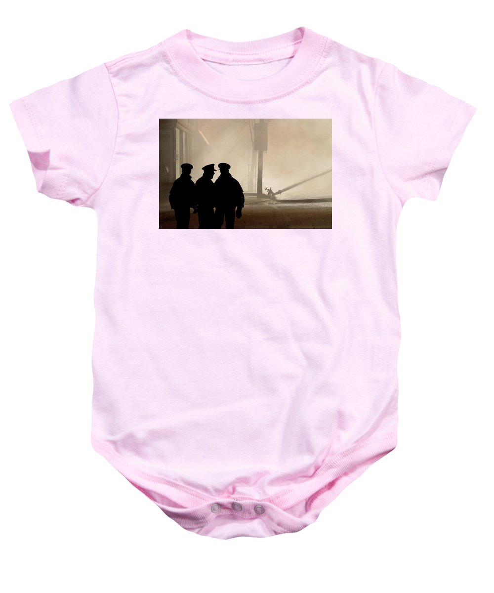 Three Baby Onesie featuring the digital art Police Watching Firefighters During Moose Jaw New Years Fire by Mark Duffy