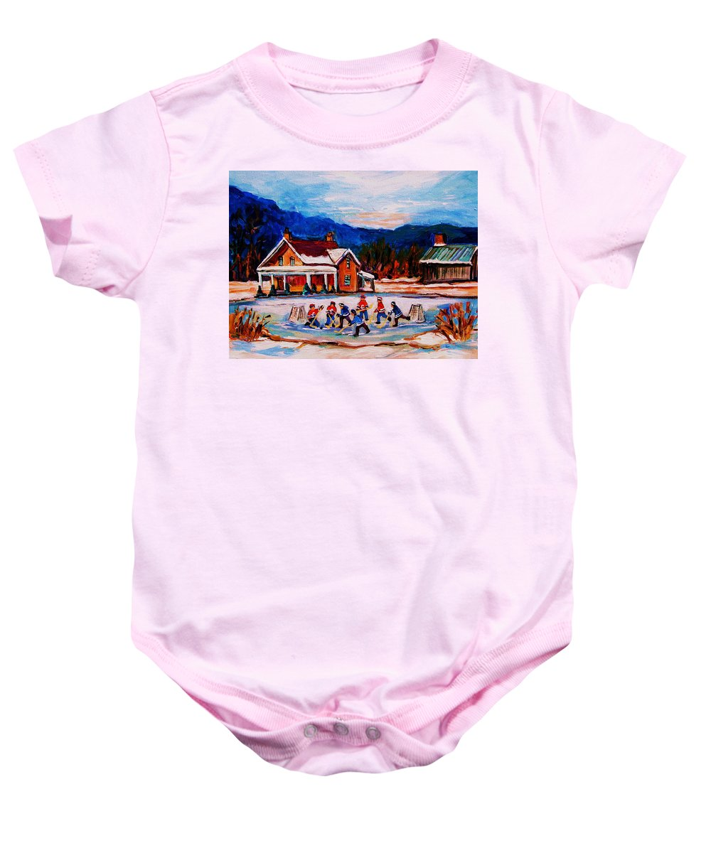 Hockey Baby Onesie featuring the painting Pond Hockey by Carole Spandau
