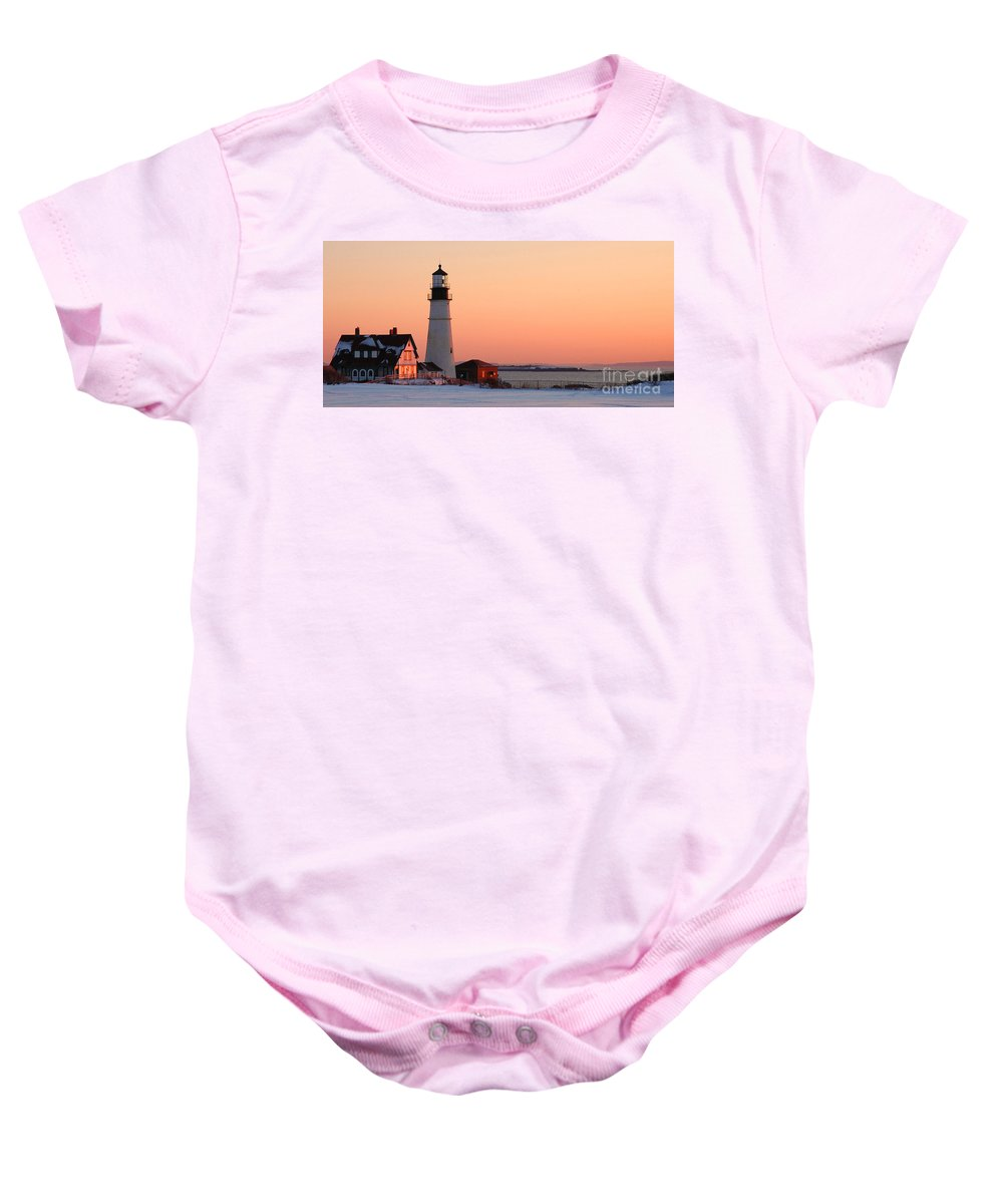 Coastline Baby Onesie featuring the photograph Portland Head Light At Dawn - Lighthouse Seascape Landscape Rocky Coast Maine by Jon Holiday