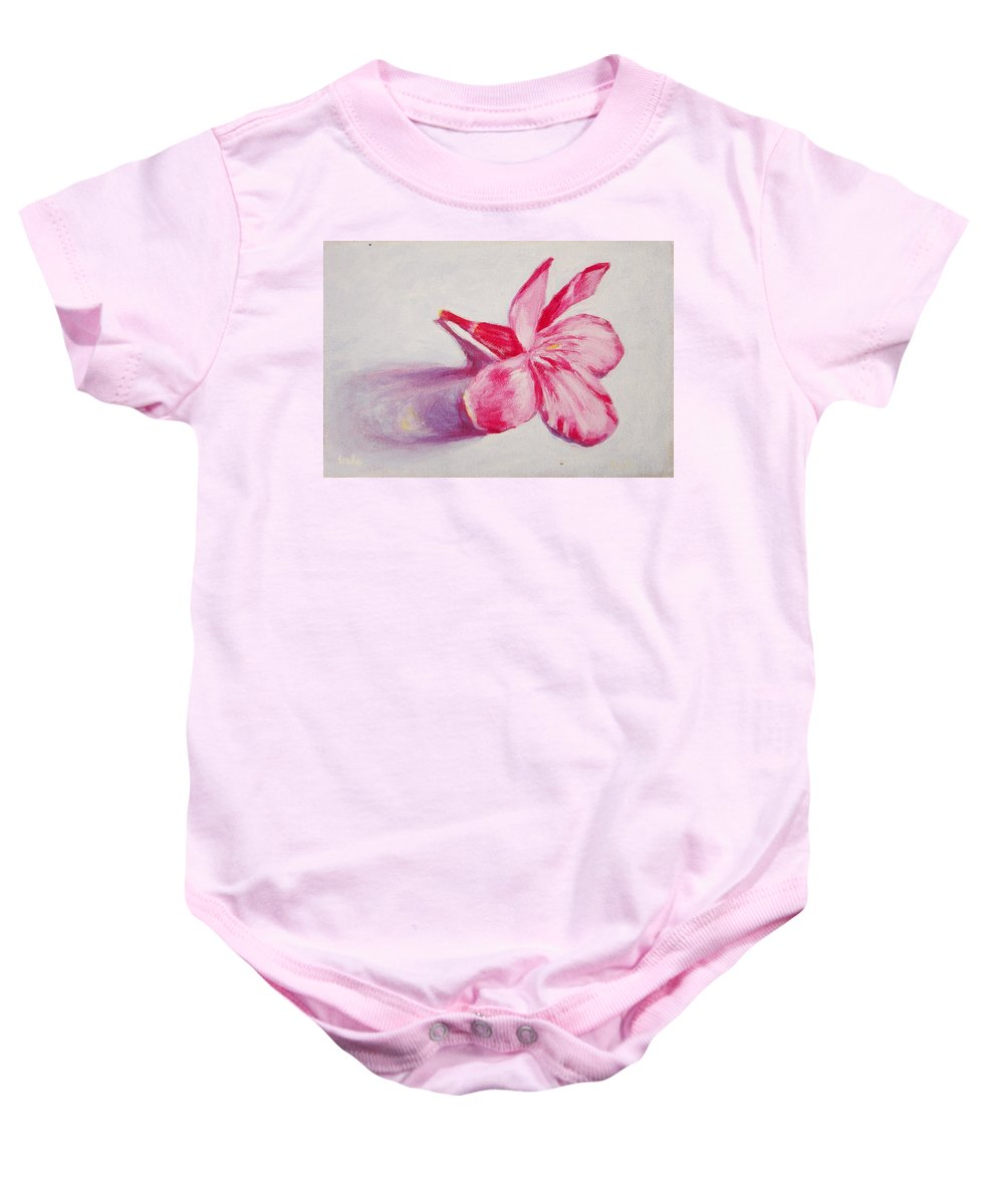 Genneri Baby Onesie featuring the painting Portrait Of The Kaneri Flower. Oleander by Usha Shantharam