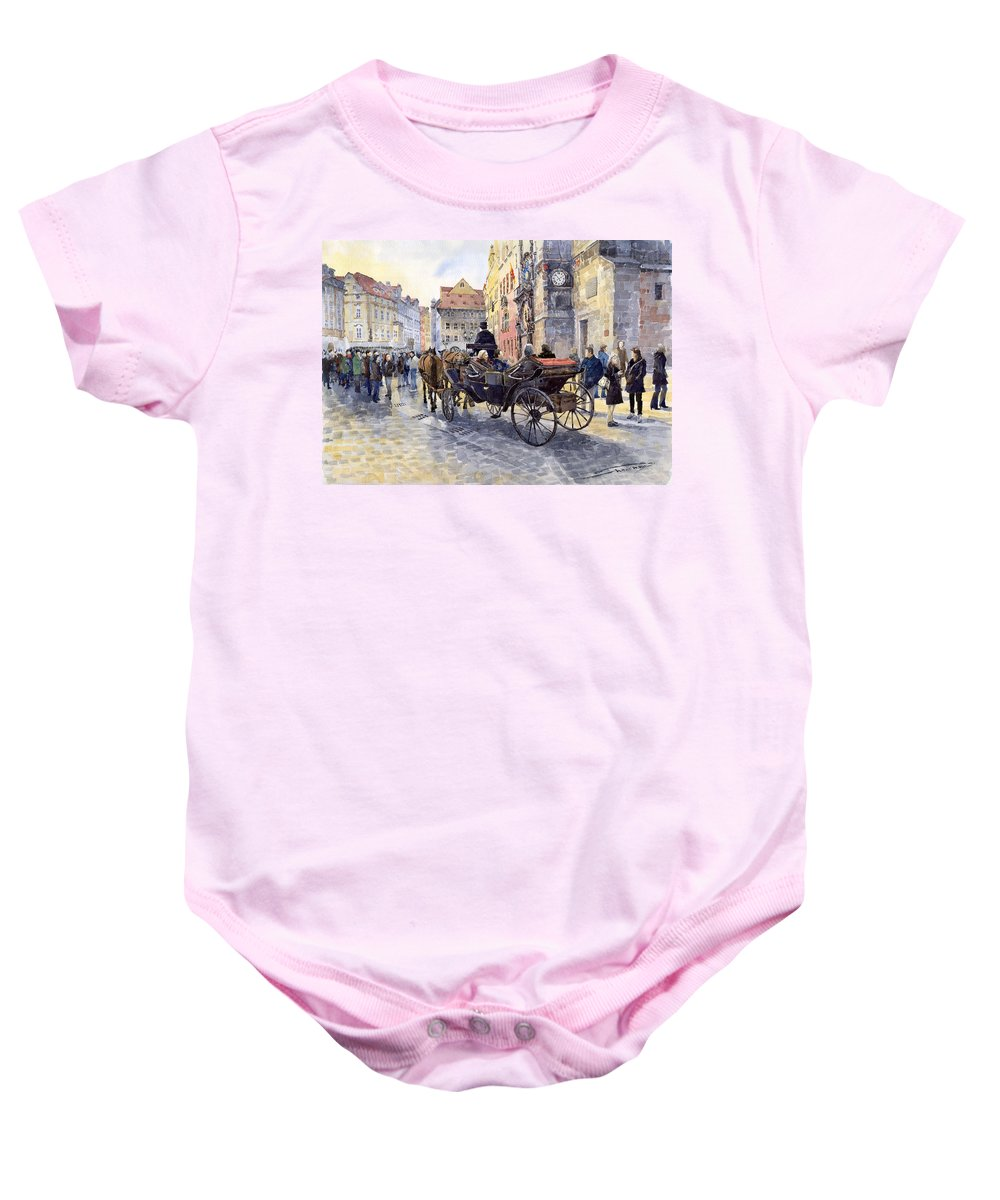 Watercolour Baby Onesie featuring the painting Prague Old Town Hall and Astronomical Clock by Yuriy Shevchuk