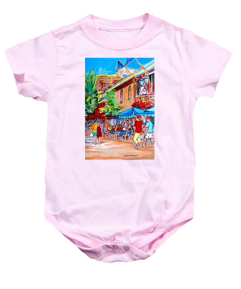Cafes Baby Onesie featuring the painting Prince Arthur Street Summer by Carole Spandau