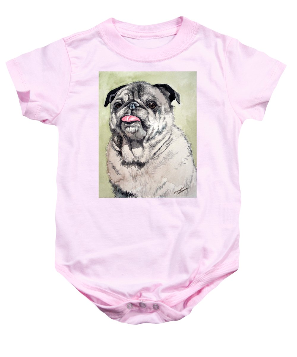 Dog Baby Onesie featuring the painting Pug by Christopher Shellhammer
