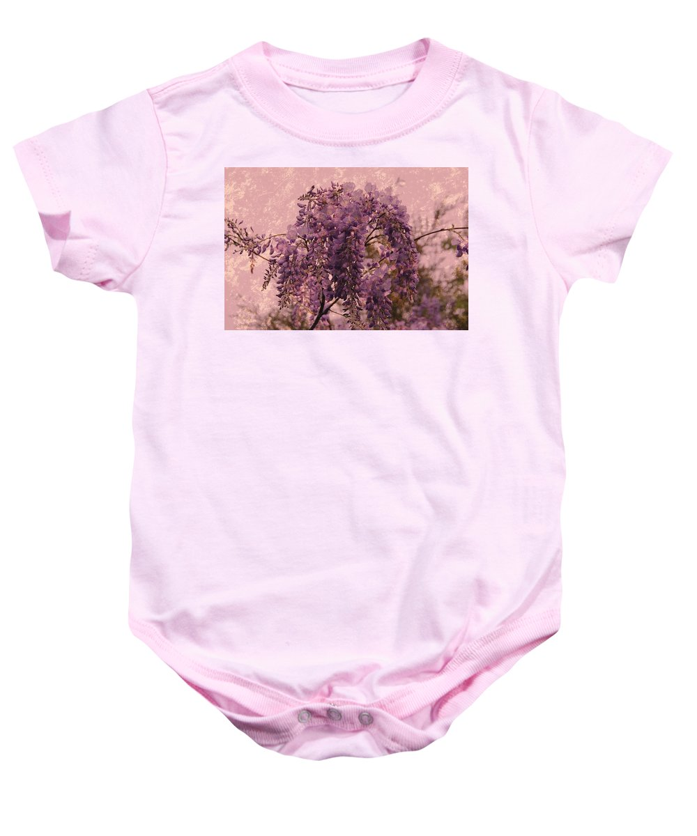 Wisteria Flowers Baby Onesie featuring the photograph Purple Pleasures by Angie Tirado