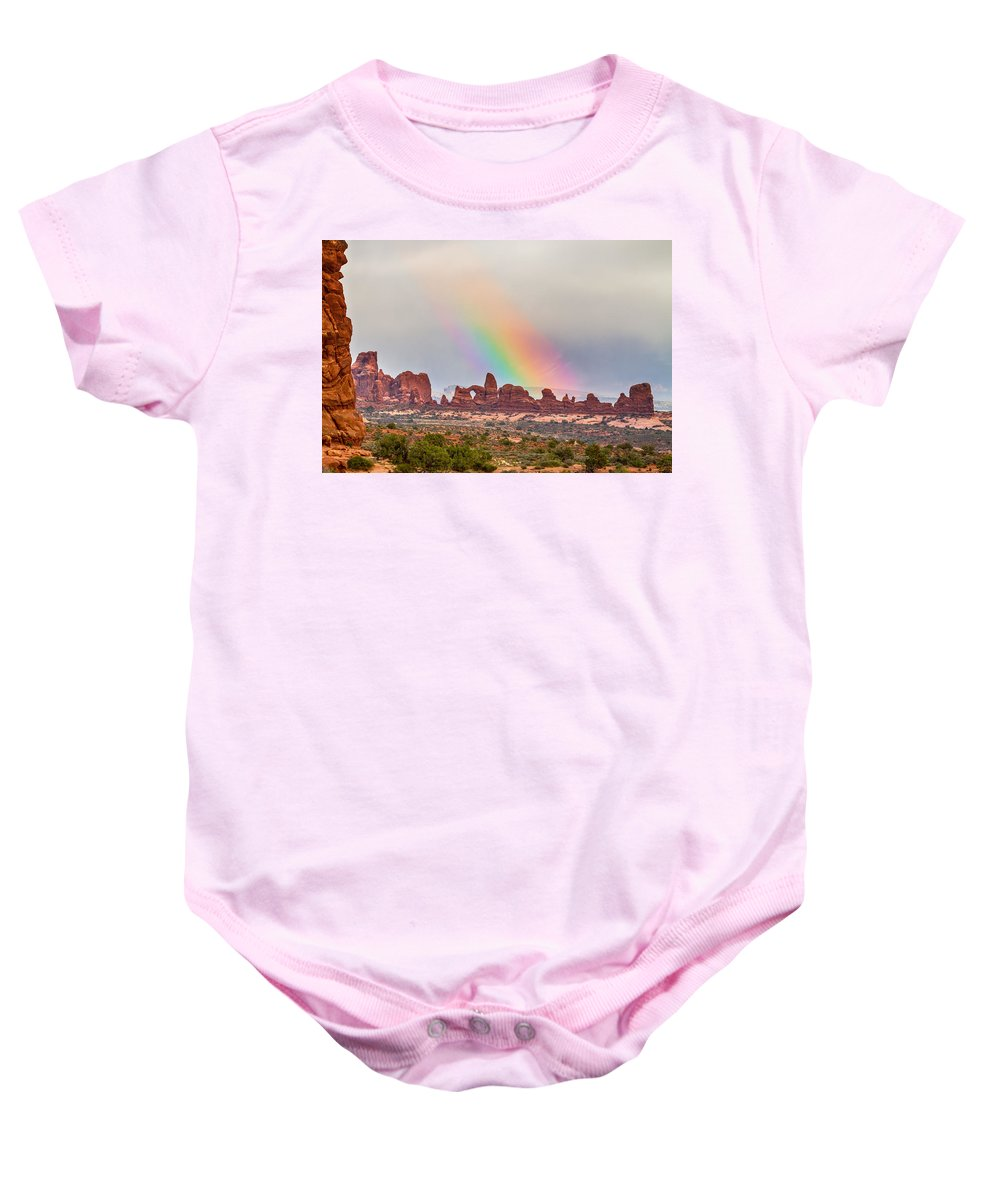 Rainbow Baby Onesie featuring the photograph Rainbow Down by James BO Insogna