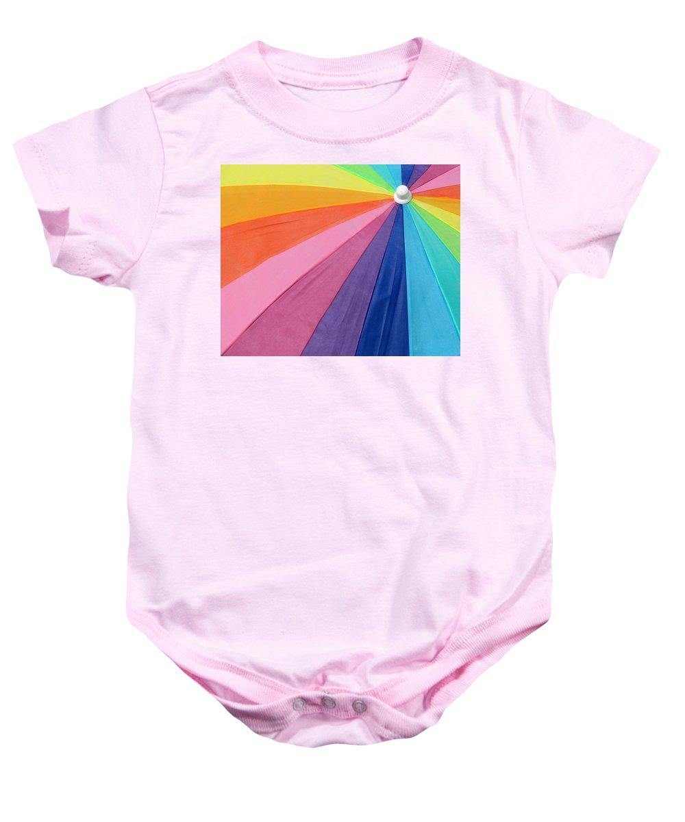 Beach Baby Onesie featuring the photograph Rainbow On The Beach by Lori Pessin Lafargue