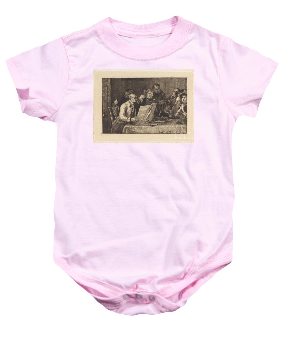 Baby Onesie featuring the drawing Reading The Will by Sir David Wilkie