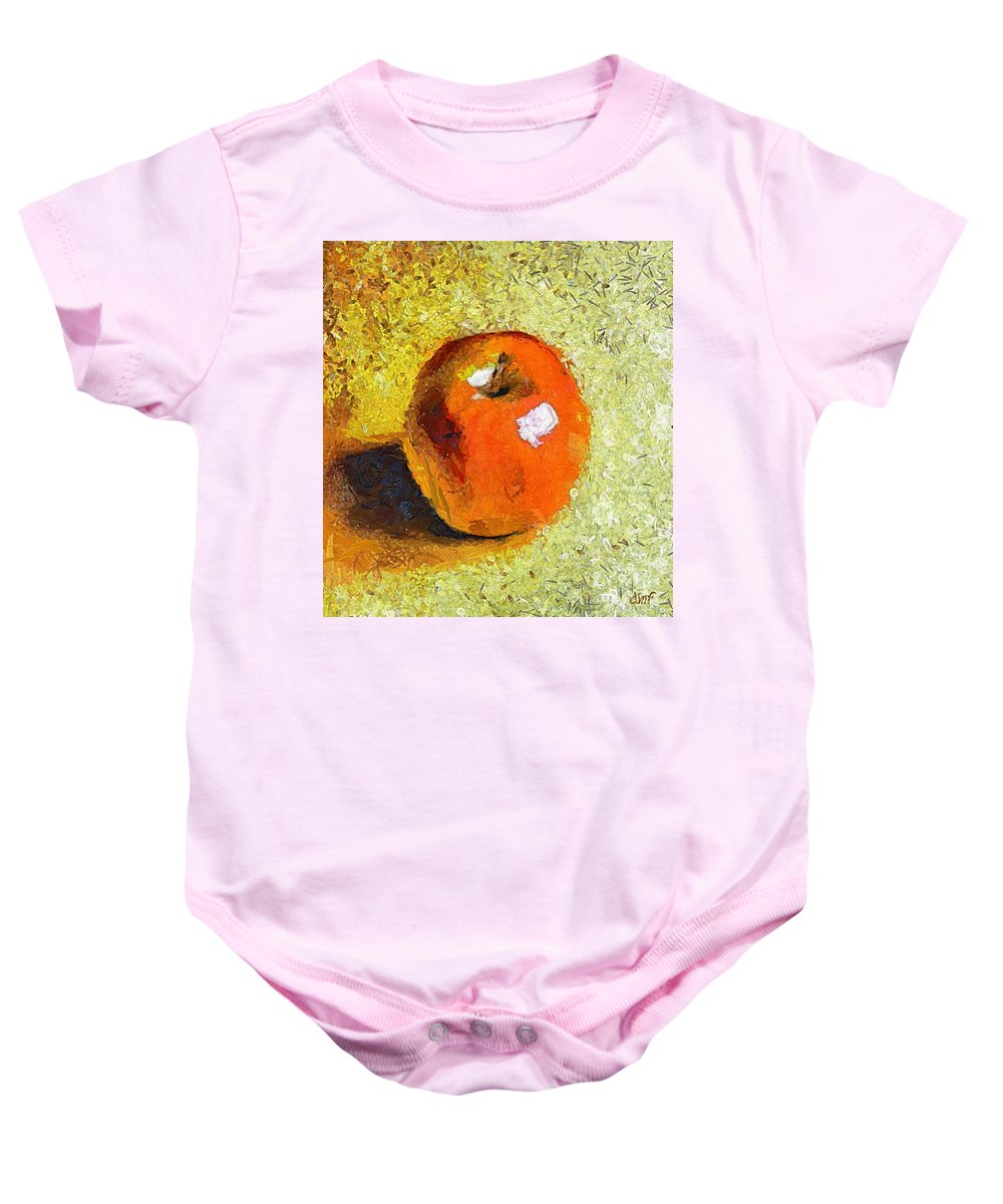 Red Apple Baby Onesie featuring the painting Red Apple by Dragica Micki Fortuna
