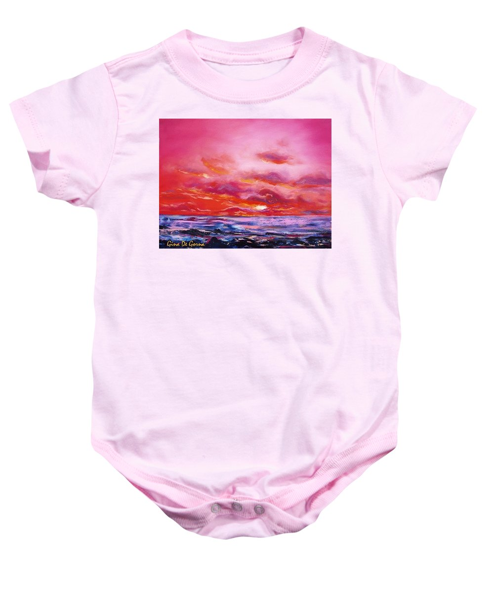 Red Baby Onesie featuring the painting Red Sunset by Gina De Gorna