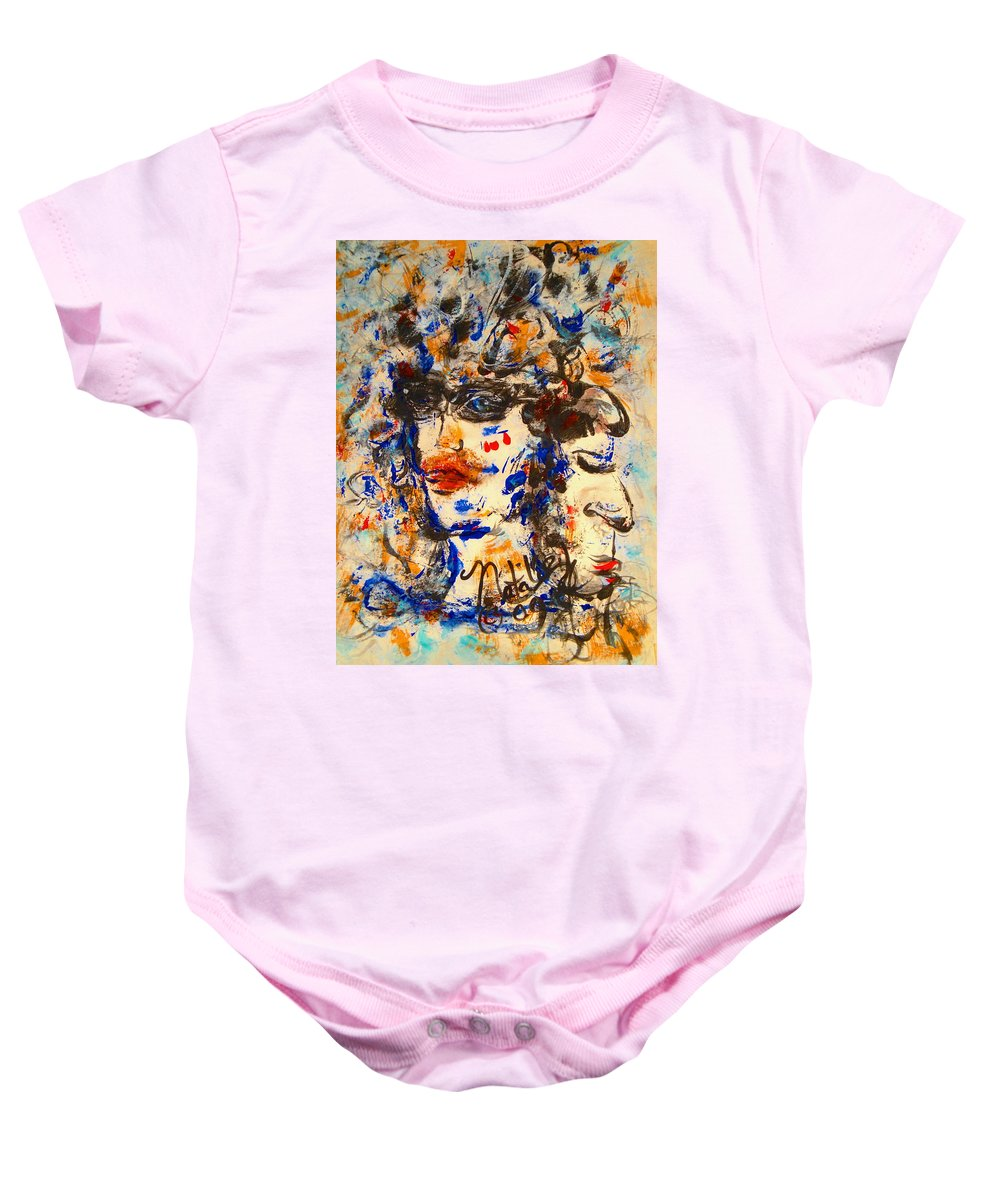 Free Expressionism Baby Onesie featuring the painting Reflections by Natalie Holland