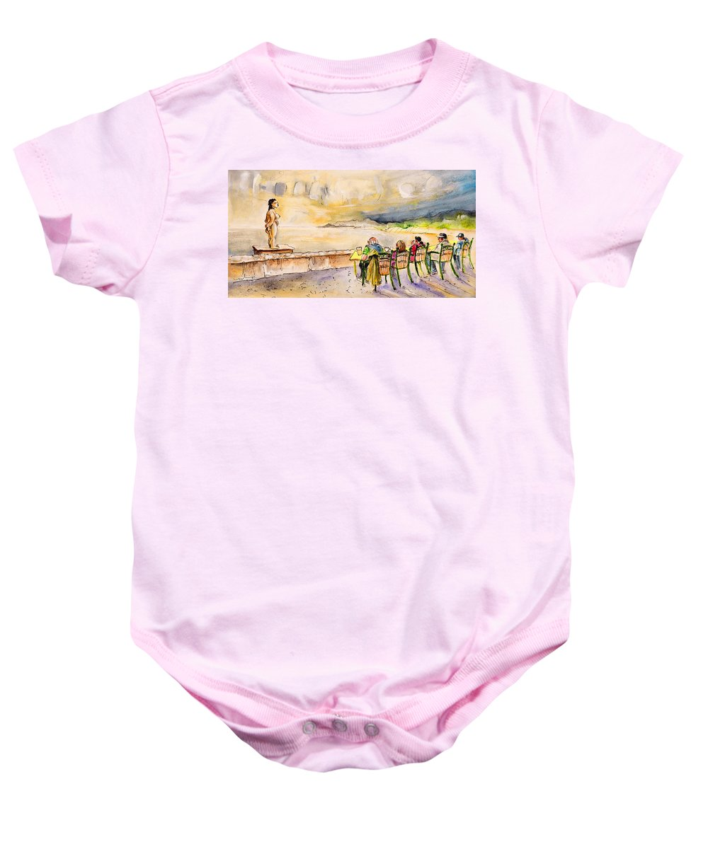 Travel Baby Onesie featuring the painting Relaxing In Cala Ratjada by Miki De Goodaboom