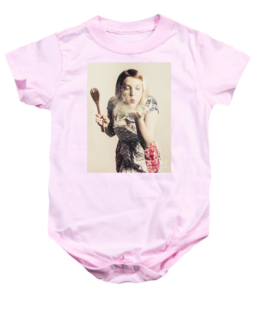 Female Baby Onesie featuring the photograph Retro Cooking Woman Giving Recipe Kiss by Jorgo Photography - Wall Art Gallery