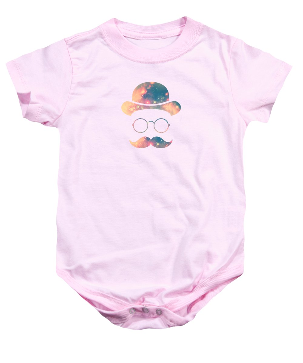 Gold Baby Onesie featuring the digital art Retro Face with Moustache and Glasses Universe Galaxy Hipster in Gold by Philipp Rietz