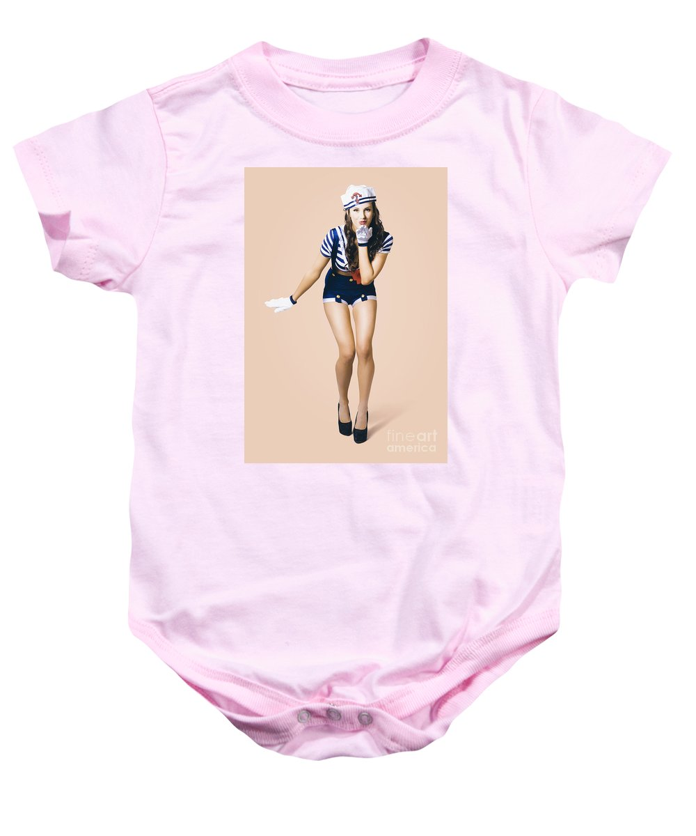 Girl Baby Onesie featuring the photograph Retro Pinup Girl Blowing Travelling Departure Kiss by Jorgo Photography - Wall Art Gallery