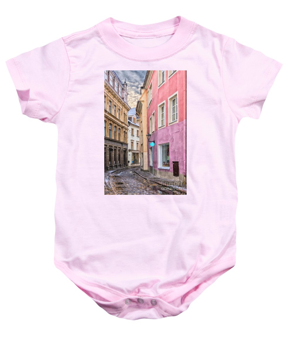 Digital Baby Onesie featuring the painting Riga Narrow Road Digital Painting by Antony McAulay