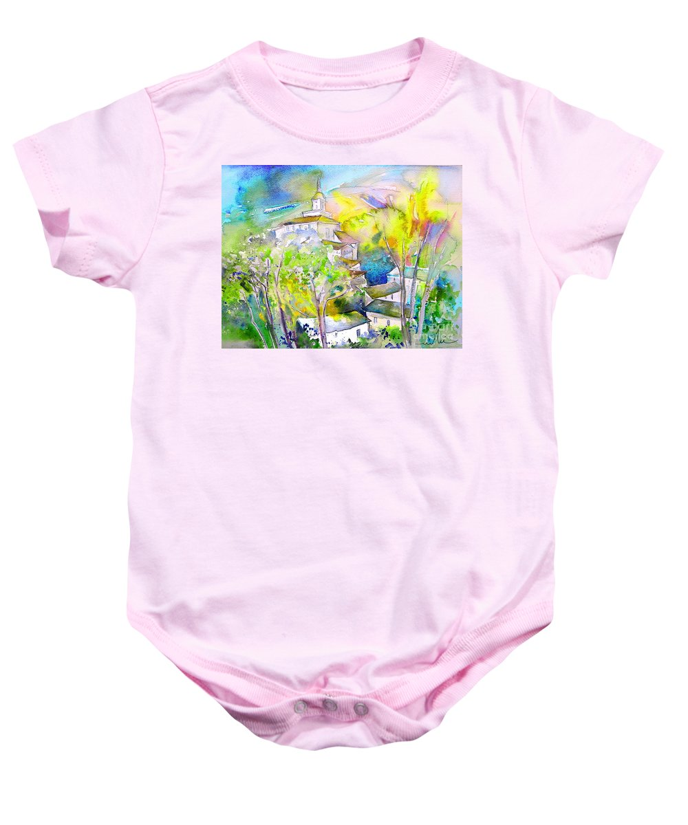 Watercolour Travel Painting Of A Village In La Rioja Spain Baby Onesie featuring the painting Rioja Spain 04 by Miki De Goodaboom