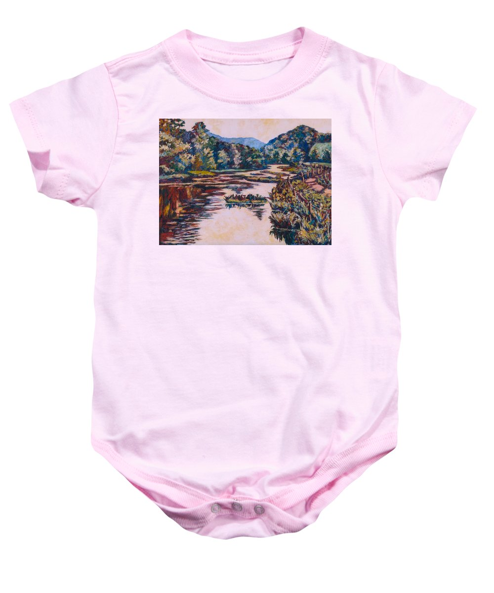 Little River Baby Onesie featuring the painting Ripples On The Little River by Kendall Kessler