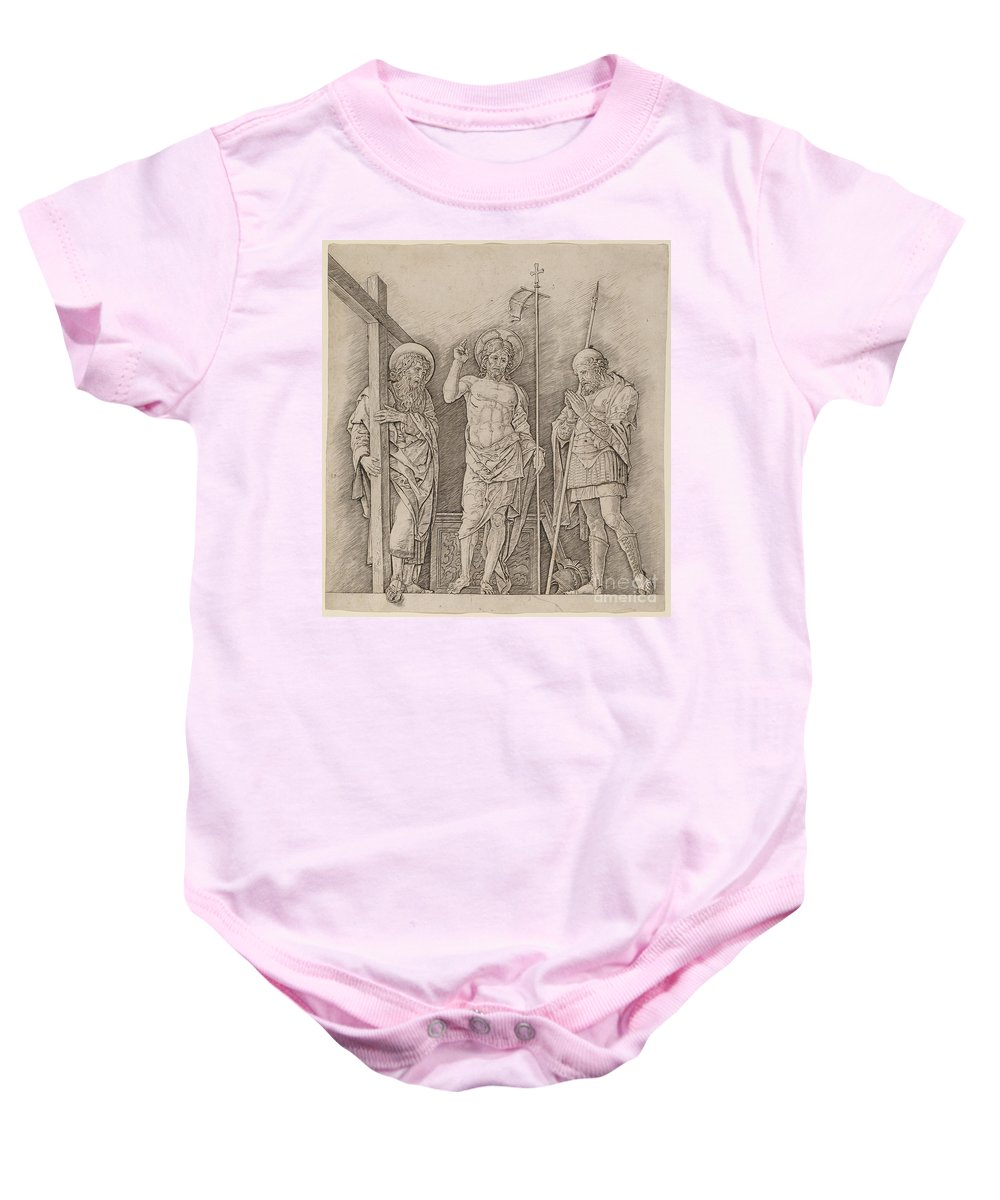 Risen Christ Baby Onesie featuring the drawing Risen Christ Between Saints Andrew And Longinus by Andrea Mantegna