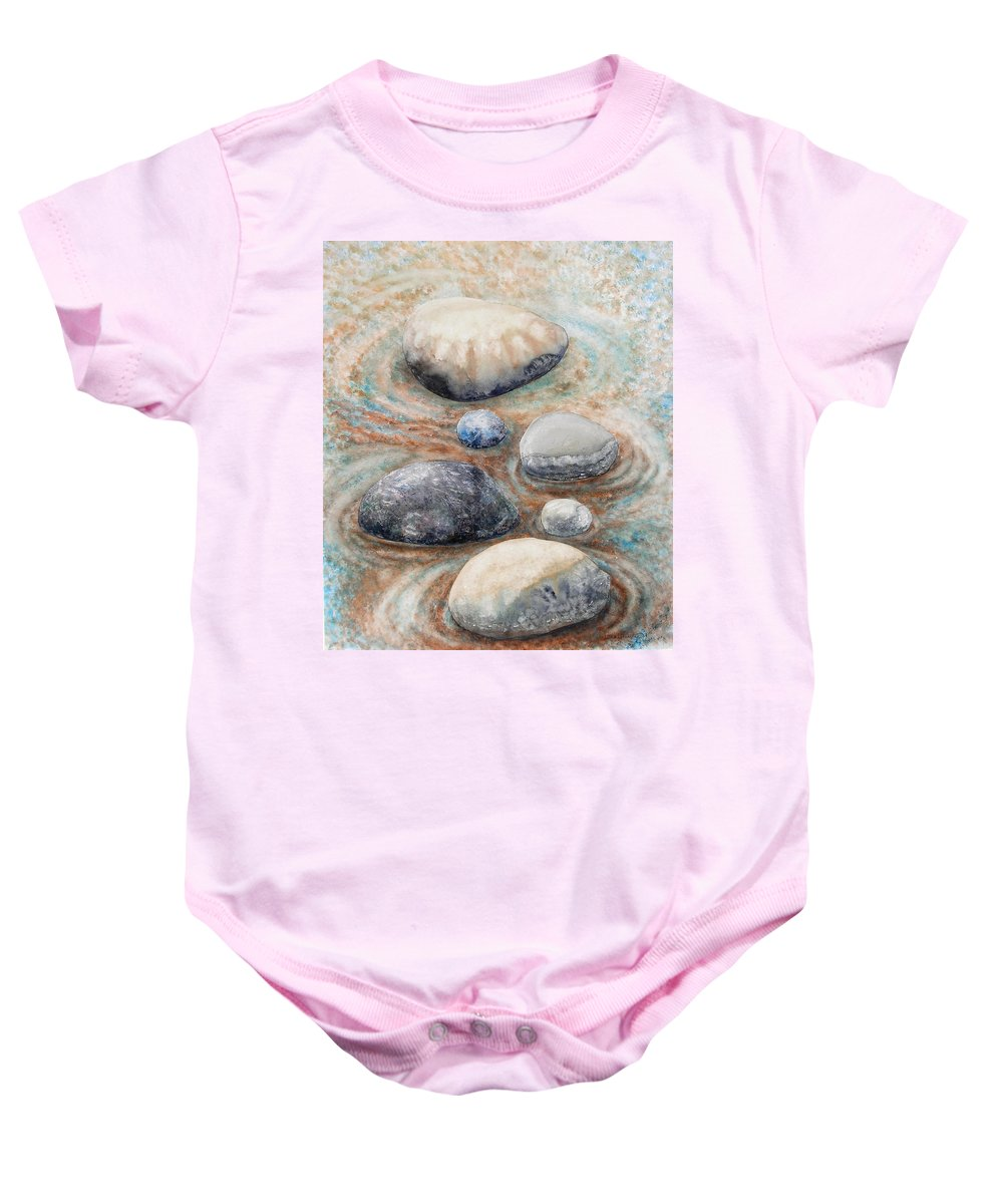 Abstract Baby Onesie featuring the painting River Rock 2 by Valerie Meotti